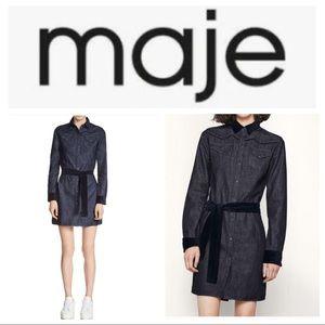 Maje Rallex Denim & Velvet Trimmed Shirt Dress